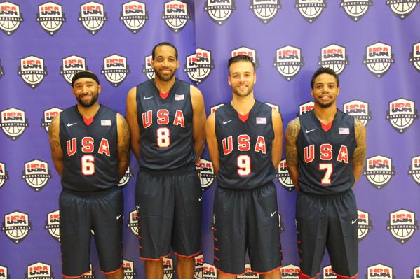 Derek Griffin (no. 9) with USA Basketball 3x3 Exhibition Team In Tokyo For Olympics Pitch