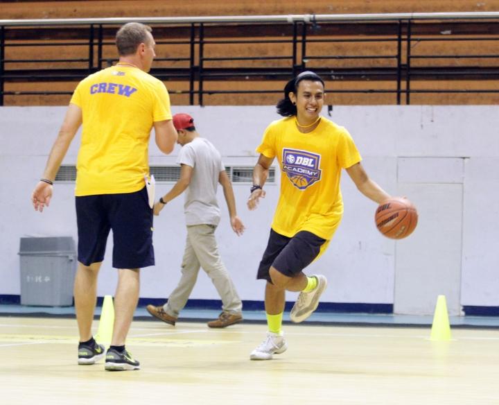 dimas muhari saat mengikuti coching clinic DBL academy oleh mick downer di DBL arena surabaya (15/12)